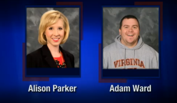 Shooting victims Alison Parker, 24 and Adam Ward, 27 worked for WDBJ, the CBS station based out of Roanoke, Virginia. Courtesy of WDBJ.