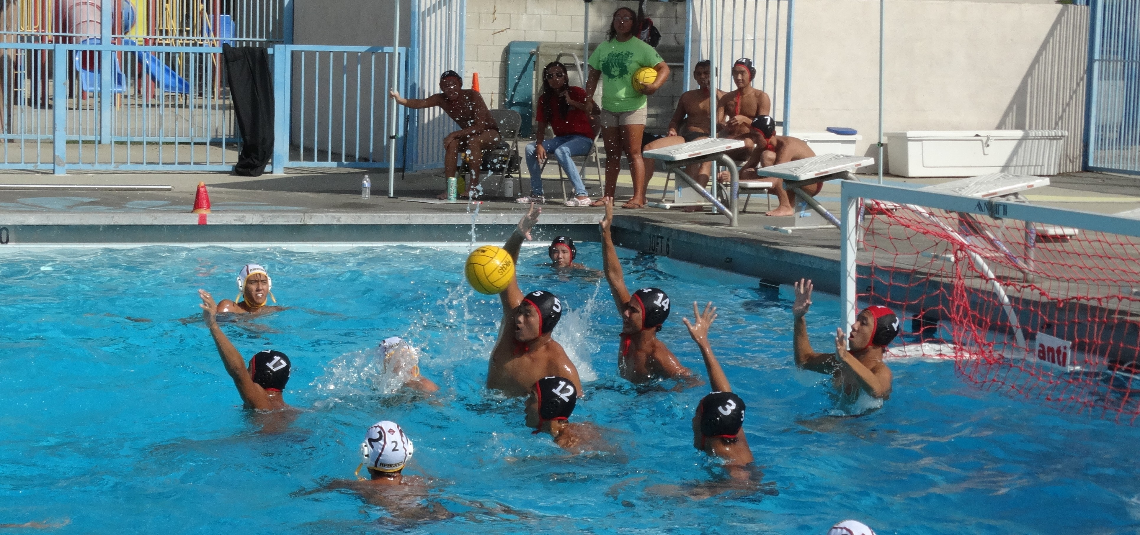 The Aztecs work together to block a shot. Pictured (from left to right): Senior Kyndall Ting (17), Senior Mark Wang (5), Junior Justin Young (12), Junior Emanuel Acosta (14), Senior Matthew Chan (3), and Senior Stanley Yu (1). THE AZTEC/DARWIN TSE