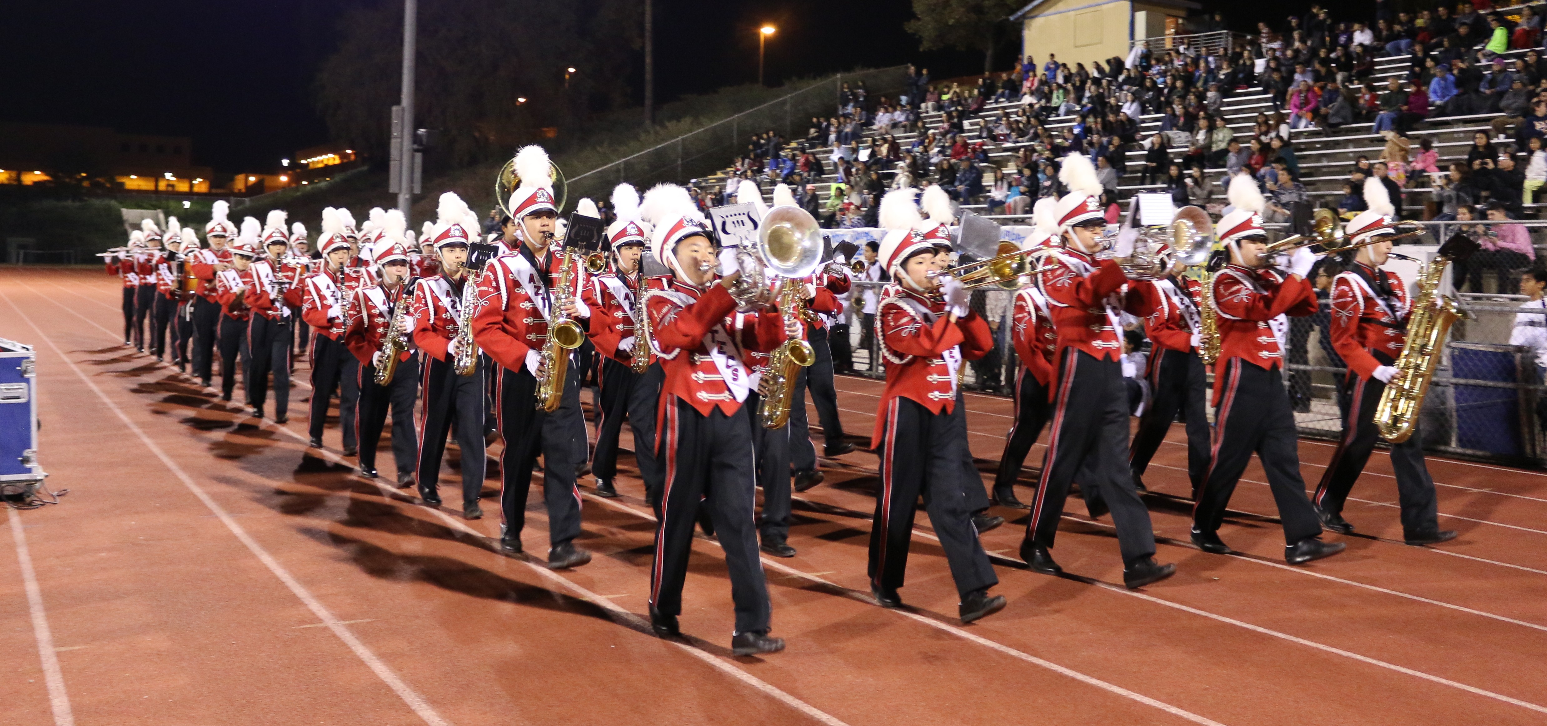 Band marches around the field at the San Gabriel High School track. COURTESY OF FINA LEE