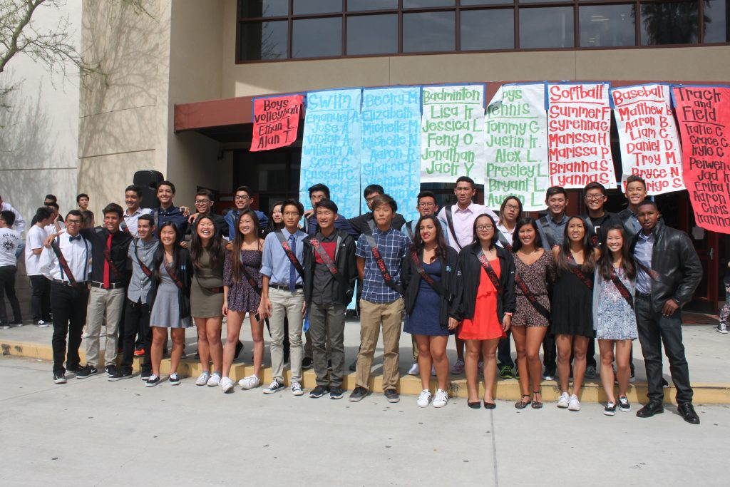 Seniors of the swim team recognized during Spring Rally. THE AZTECS/JAMIE CHAU