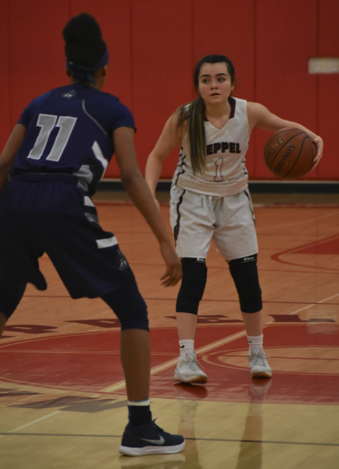 Junior point guard Vanessa Aguirre, who led the team with 18 points, sets up the offense in the first half. THE AZTEC NEWS/TIMOTHY CHUMAN