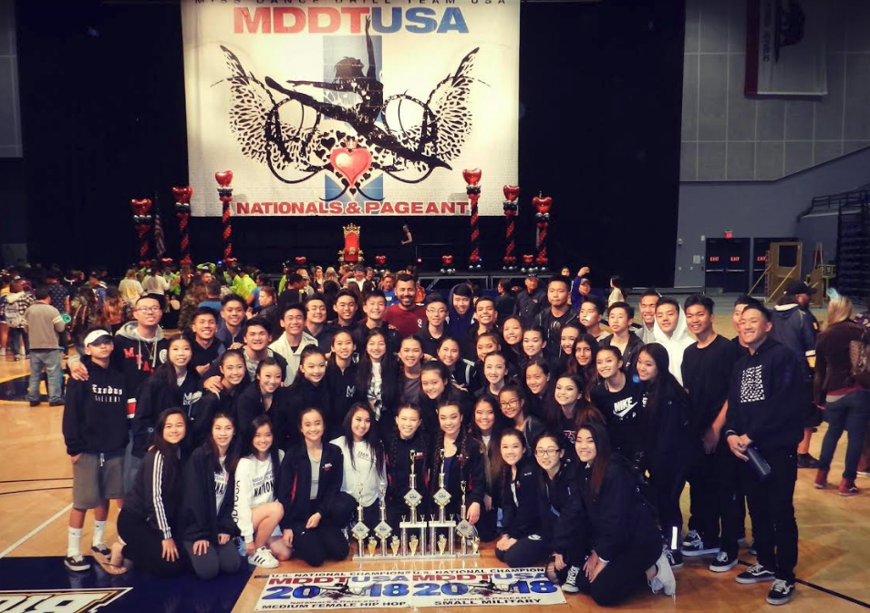 Mark Keppel Dance Company alongside Director Mr. Arroyo pose for a photo after winning awards at Nationals Courtesy of Mr. Arroyo