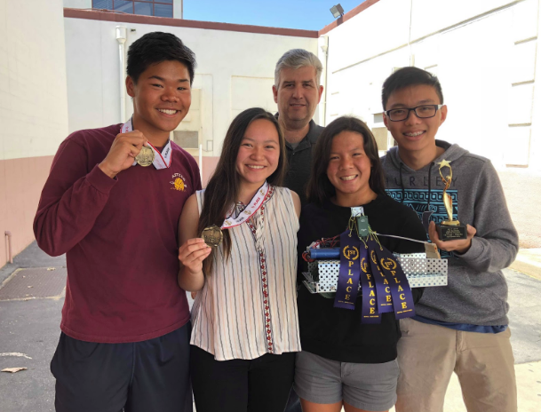 Ryan Taing (senior), Joline Kwok (senior), Rachel Lee (junior), Jalan Chau (senior) displays their awards. COURTESY TO TEAM TECHNOBITOICS AND MR. SACCONES